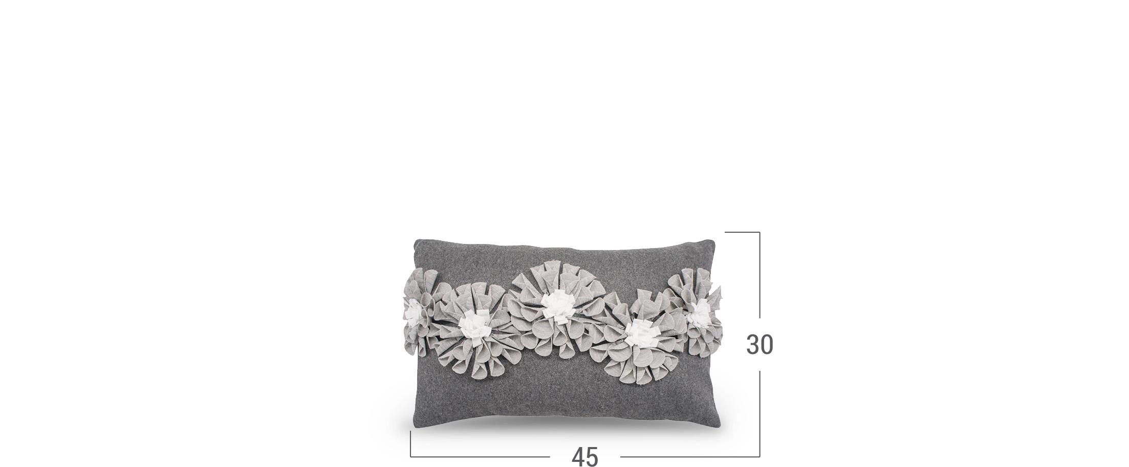 Подушка декоративная серая Флора 4010